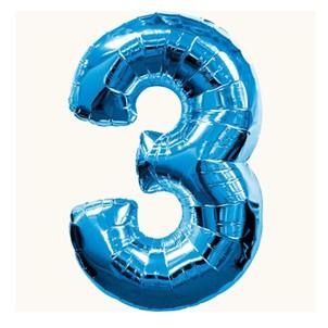 Цифра 3, синяя