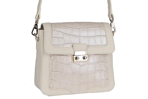 Кожаная белая женская сумка Galaday