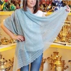 Оренбургский пуховый платок голубого цвета