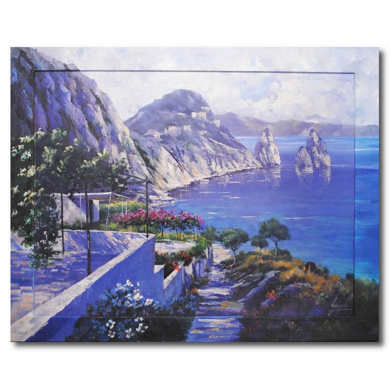 Картина Море и горы, (репродукция с подрисовкой на раме)