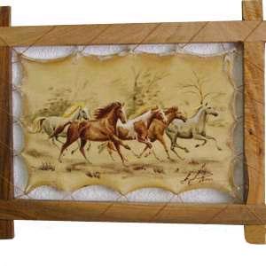 Картина на коже «Лошади»