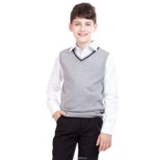 Вязаный серый жилет для мальчика Gulliver