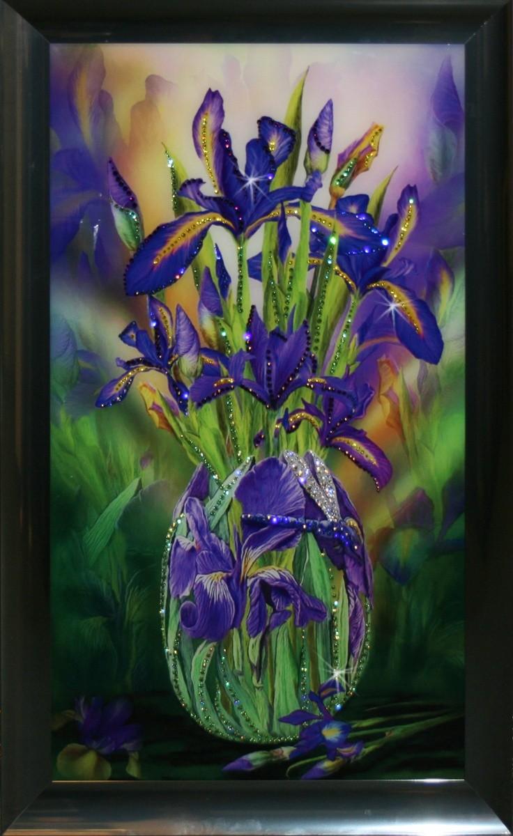 Картина с кристаллами Swarovski Букет Ирисов
