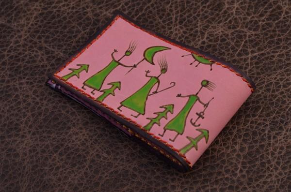 Карманная визитница. Коллекция Altamira (розовый; тип 1; нат. кожа)