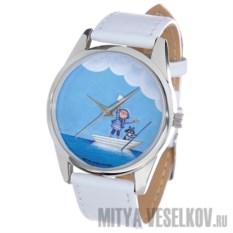 Наручные часы Мальчик и собака в лодке (White)