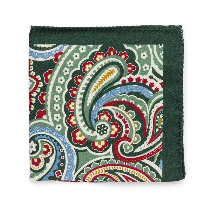 Платок Roda из шерсти, с крупным узором, зелено-красный