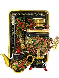Набор: эл. самовар 3 литра с художественной росписью Хохлома классическая, с автоматическим отключением при закипании