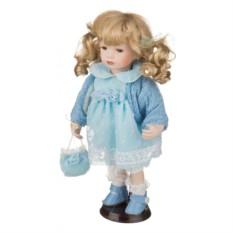 Фарфоровая кукла в голубом наряде