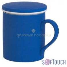Синяя кружка с покрытием Soft touch