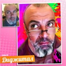 Мужской портрет в стиле Диджитал-арт на холсте по фото