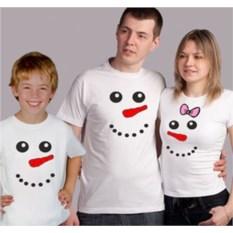 Семейные футболки на троих Снеговики