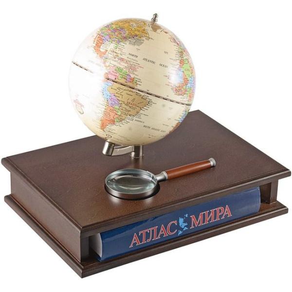Подставка с глобусом, лупой и Атласом мира