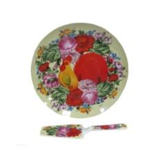 Блюдо с лопаткой Петух в цветах