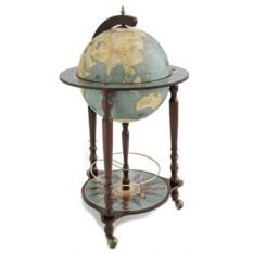 Голубой напольный глобус-бар Да Винчи