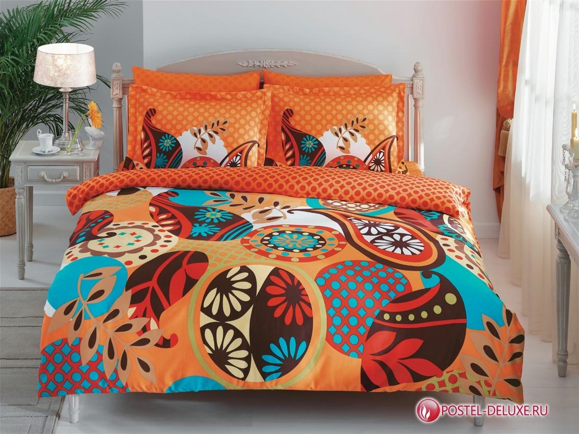Постельное белье TAC Evas orange (семейный комплект)