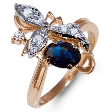 Кольцо из красного золота с бриллиантом и сапфиром