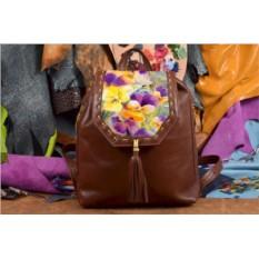 Коричневый кожаный рюкзак с принтом Яркие цветы