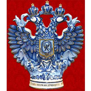 Штоф «Двуглавый Орел» (бело-синий с золотом)
