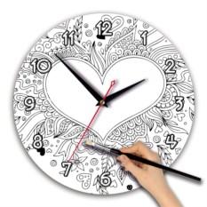 Часы-раскраска с изображением сердца