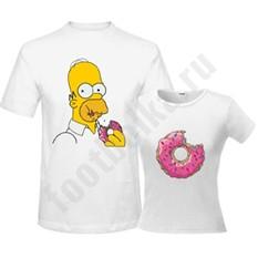 Парные футболки Гомер и пончик