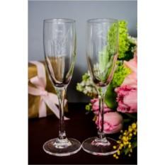 Набор бокалов для шампанского с вашим текстом На крючке