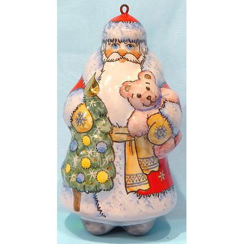 Елочная игрушка Дед Мороз с мишкой