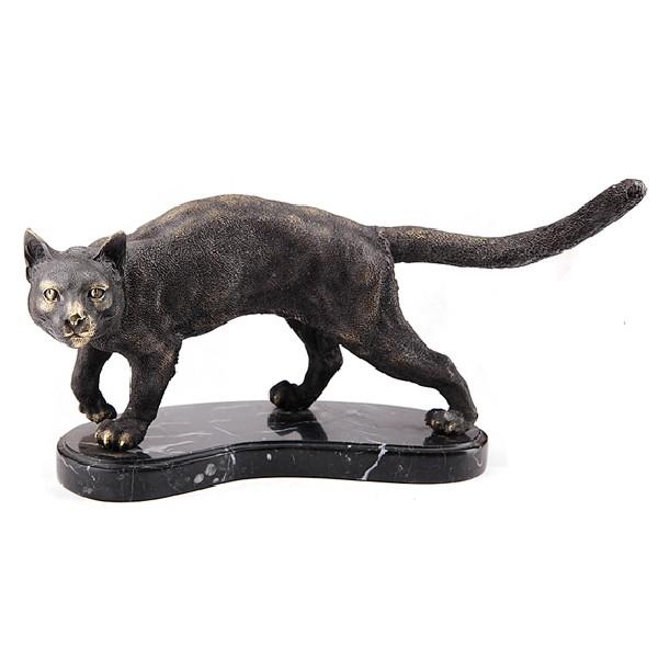 Бронзовая статуэтка Кошка на подставке