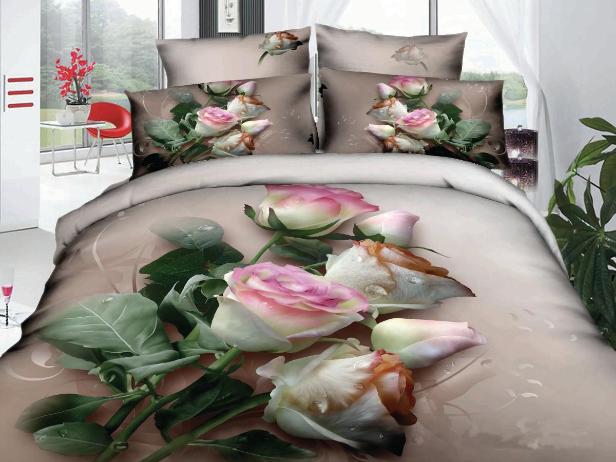 Евро комплект постельного белья 3D, букет белых роз