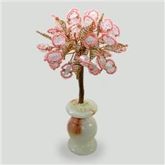 Дерево из розового кварца Будущее в вазочке из оникса
