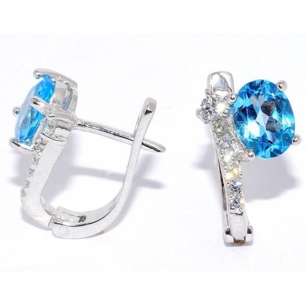 Серьги топаз swiss blue, куб.цирконий