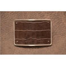 Пряжка для ремня с кожаной вставкой. Коллекция G.Design (темно-коричневый, крокодил; глянцевый; нат. кожа)