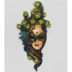 Большая венецианская маска Павлин (цвет — сине-зеленый)