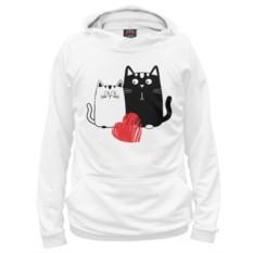 Белое мужское худи Влюбленные котики