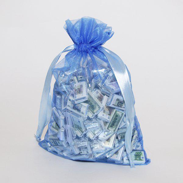 Мешок с шоколадными деньгами синий