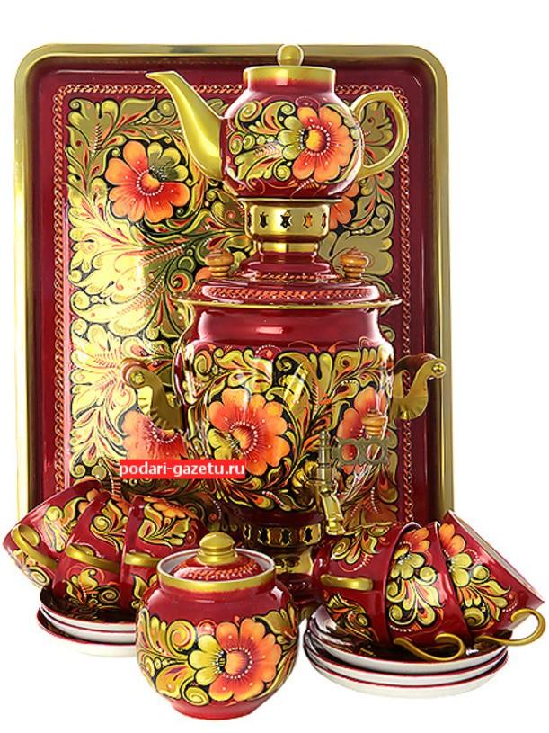 Набор с самоваром и чайным сервизом Кудрина