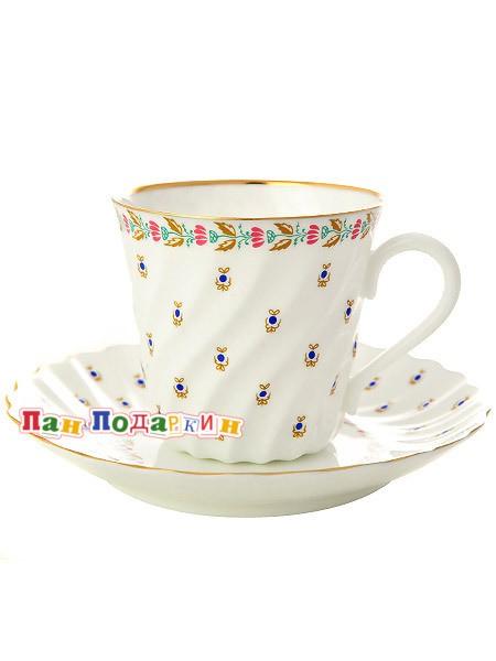 Кофейная чашка с блюдцем Голубые ягодки