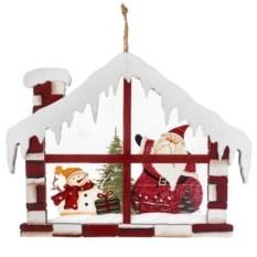 Новогоднее украшение Дед Мороз со снеговиком в домике