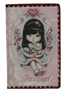 Обложка  для паспорта  «Луиза с котенком»