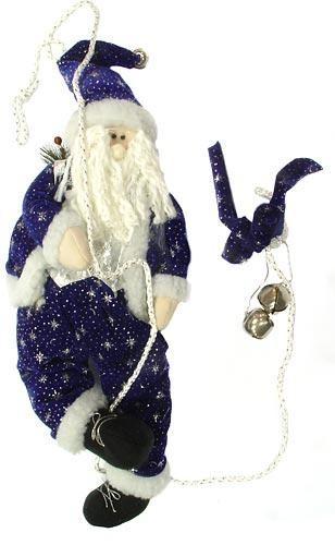 Игрушка подвесная Дед Мороз на верёвке с колокольчиками