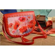 Женская сумка-седло с принтом Поле маков