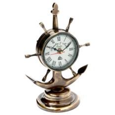 Настольные металлические часы в виде штурвала