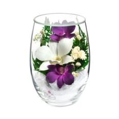 Декоративная композиция из натуральных орхидей в вазе