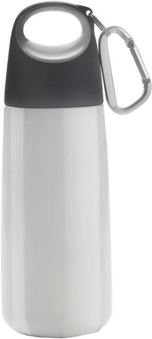 Серебристая емкость для питья на 350 мл с карабином