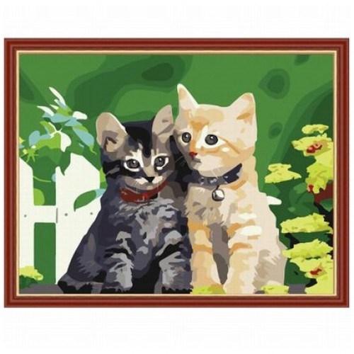 Картина-раскраска по номерам на холсте Котята