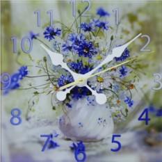 Настенные часы с кристаллами Swarovski Букет Васильки