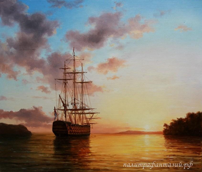 Картина Закат у далеких берегов
