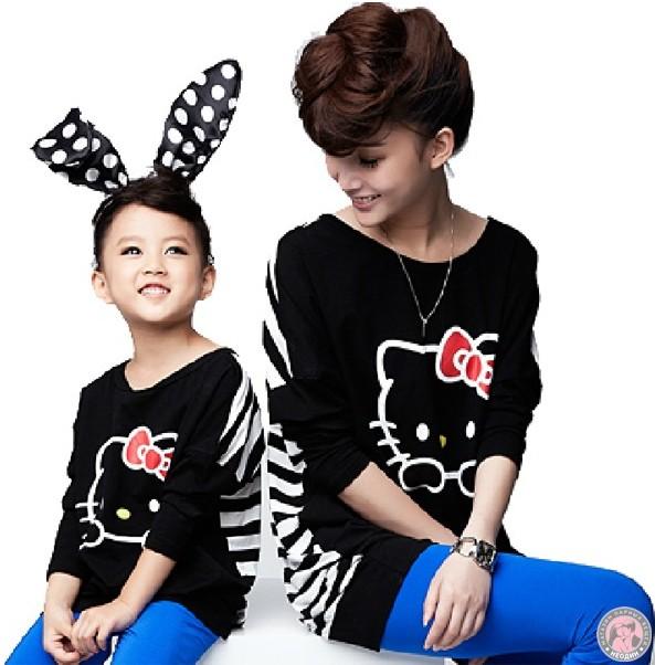 Парные футболки Hello Kitty для мамы и дочки