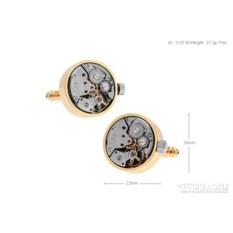 Запонки «Часовой механизм 4» в именной коробке с гравировкой