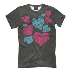 Черная мужская футболка Сердечки