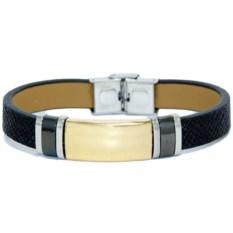 Кожаный браслет с золотистой пластиной